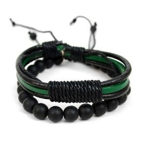 Genuine Leather & Natural Stone Two Pieces Brac.